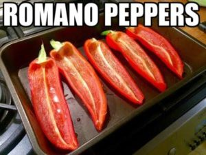 Romano peppers, sliced and deseeded